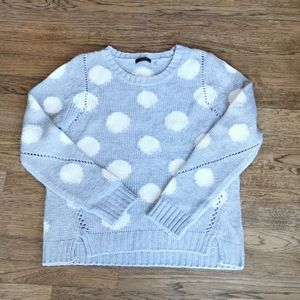 Dex Crew-Neck Sweater Grey With White Polka Dots L